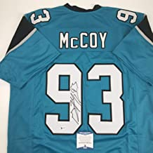 Autographed/Signed Gerald McCoy Carolina Blue Football Jersey JSA COA