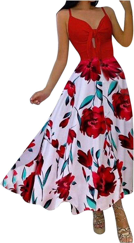 CANDITY Women's Elegant Maxi Dresses Tie Front Summer Dress V Neck Sleeveless Maxi Dress Casual Loose Flowy Dress