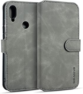 Lxj Xiaomi Redmi Note 7用レトロオイルサイド水平フリップケース、ホルダー&カードスロット&財布付き (色 : Grey)