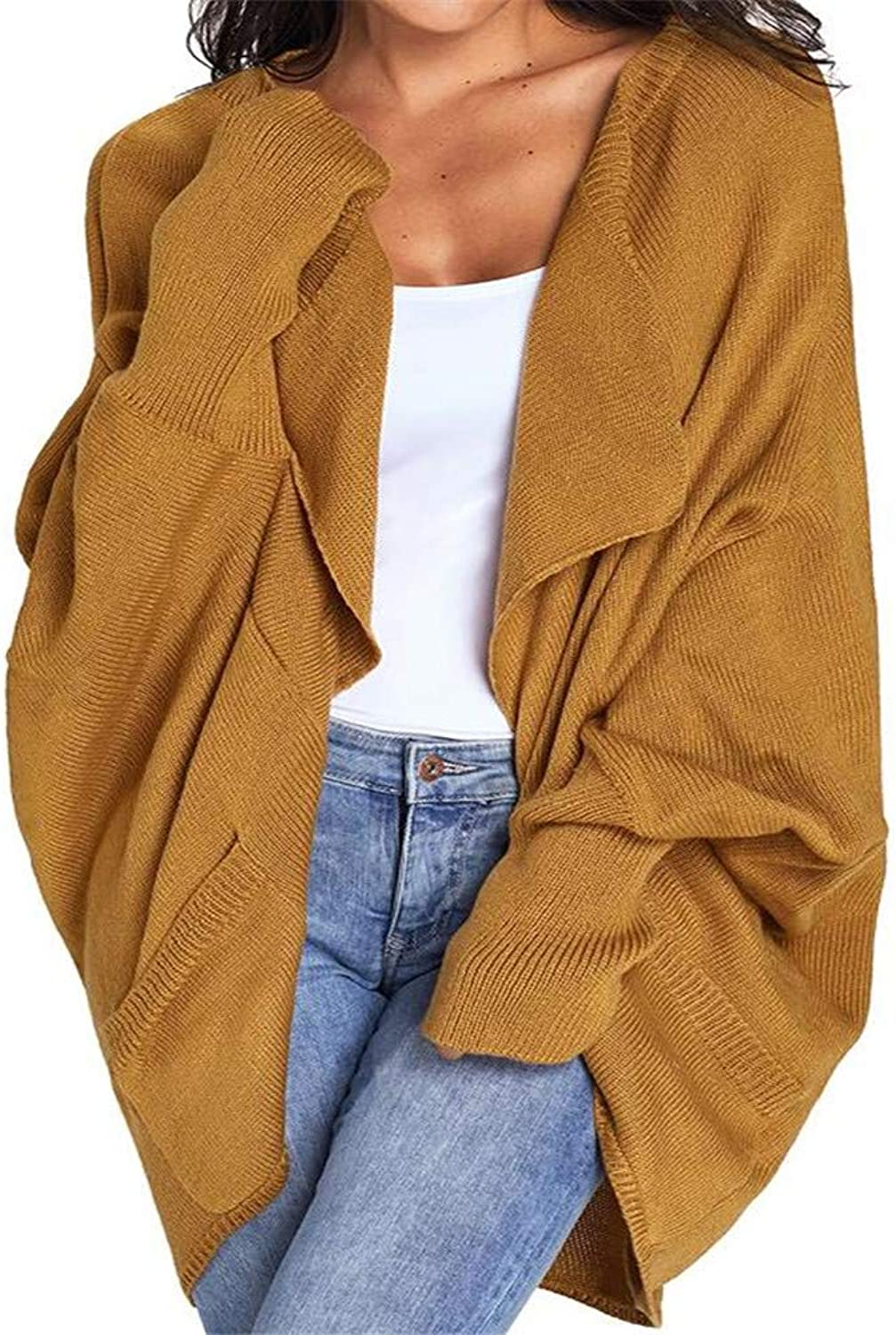 MAZF Autumn and Winter Cardigan Long Sleeve with Pocket Long Knit Sweater Coat