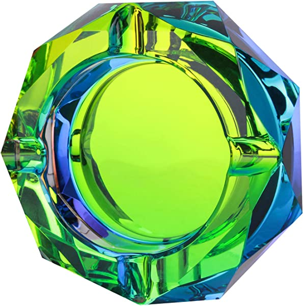 Kufox Crystal Outdoors Indoors Cigarette Ashtray Ash Holder Case Colorful Pattern Home Office Tabletop Beautiful Decoration Craft Bling Bling 03