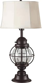 Kenroy Home 037 Hatteras Table Lamps, Outdoor, Gilded Copper & Seeded Glass