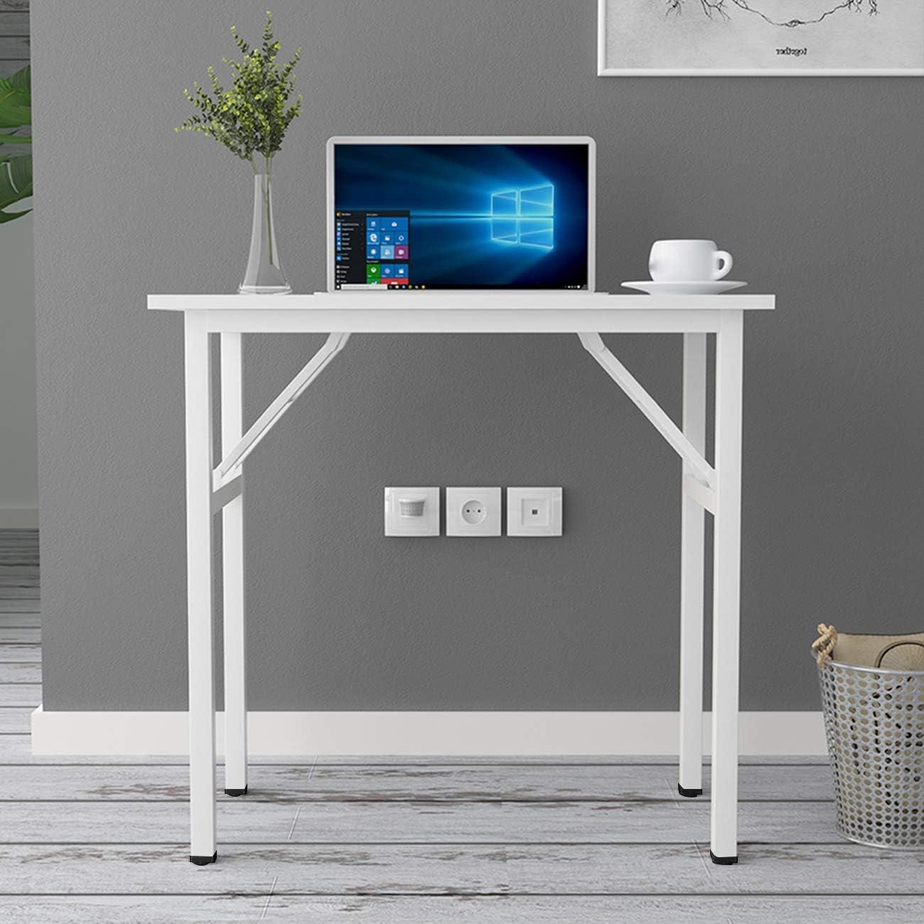 DlandHome Kleiner Klapptisch Holzplatte Computertisch//Arbeitsplatz keine Installation erforderlich graue und schwarze Beine 80 x 40 cm Heimb/üro