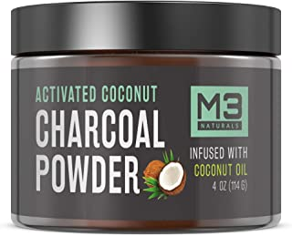 M3 Naturals Teeth Whitening Charcoal Powder Infused with Coconut Oil Natural Toothpaste 4OZ (114G) 2X More Than Competitors