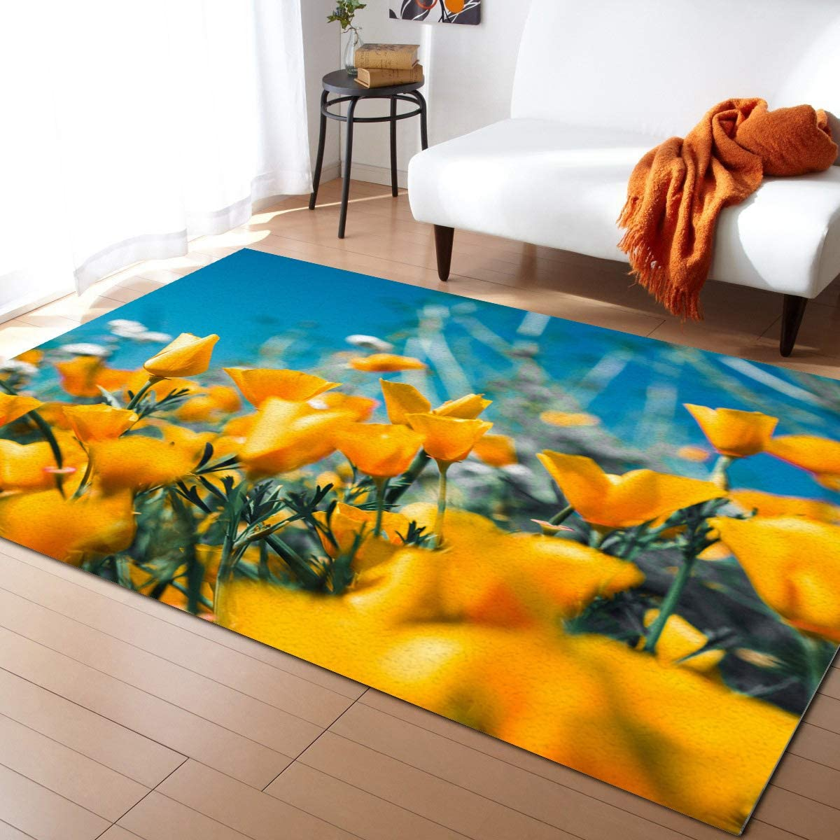 Advancey Indoor High-Low 毎日激安特売で 営業中です Area Rug 高品質 2'x3' Tulip Summer Yellow Flow
