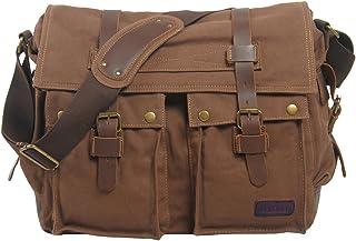 Berchirly Vintage Military Men Canvas Messenger Bag for 13.3Inch Laptop