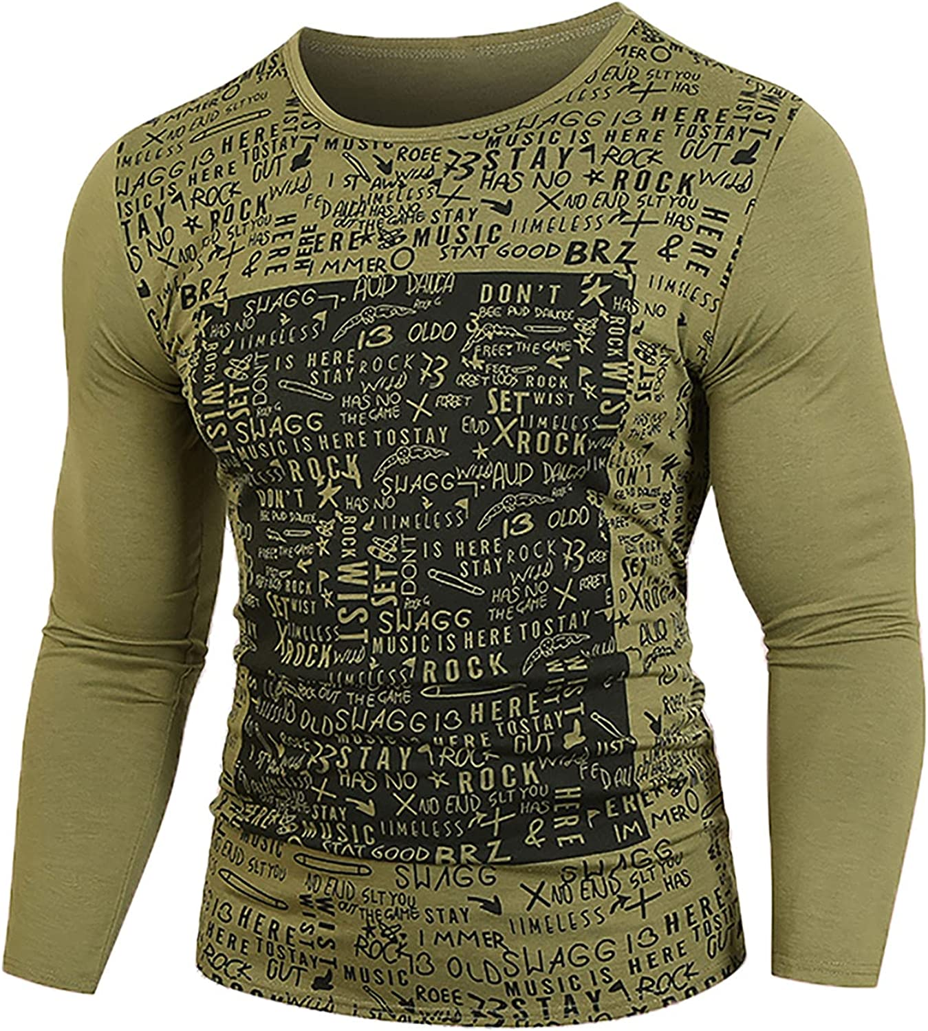 Long Sleeve Print Pattern T Shirts for Men Casual Crewneck Letter Graphics Tops Fashion Slim Fit Bottoming Shirt