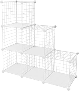 "SONGMICS Metal Wire Cube Storage,6-Cube Shelves Organizer,Stackable Storage Bins, Modular Bookcase, DIY Closet Cabinet Shelf, 36.6""L x 12.2""W x 36.6""H, White ULPI111W"