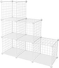 "SONGMICS Metal Wire Cube Storage,6-Cube Shelves Organizer,Stackable Storage Bins, Modular Bookcase, DIY Closet Cabinet Shelf, 36.6""L x 12.2""W x 36.6""H, White ULPI111W"