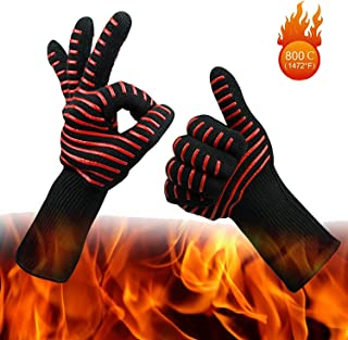 Wesoke Professional Heat Resistant Gloves, Extreme Kevlar Fire Proof Mittens with Forearm Protection, Nomex Gloves 1472°F Degree Heat Resistance for Grilling/Welding/Kitchen Cooking/Oven/BBQ, 1 Pair