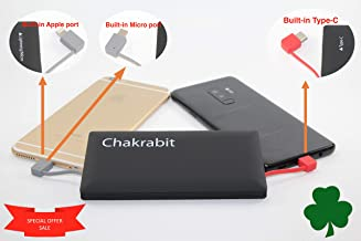 Chakrabit Super Slim 10,000 mAh Power Bank with Built-in Type-C USB C, Micro USB Cable and a Fast Charging Port Compatible with Smartphone, Tablet, Smartwatch