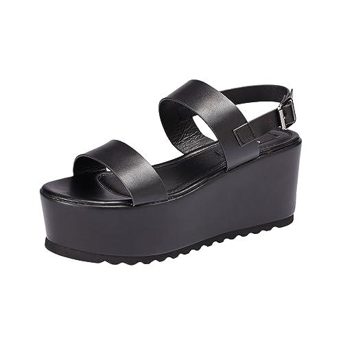 6d5f8a990b4 Sofree Women s Platform Open Toe Ankle Strap Heeled Wedge Platform Sandal