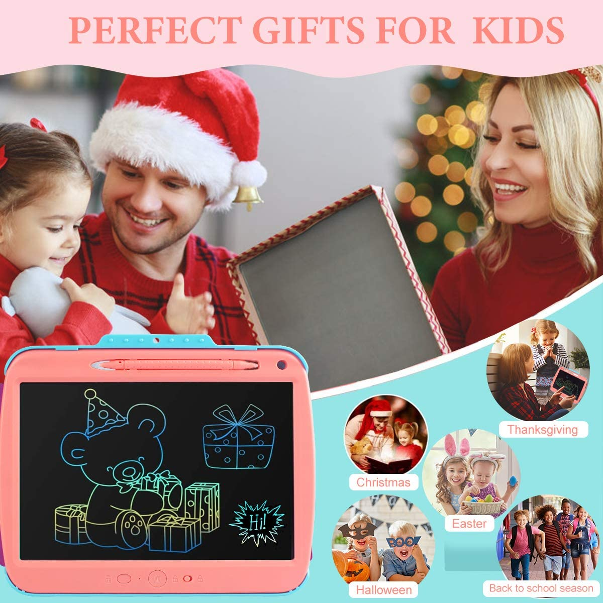 9 inch Colorful Toddler Scribbler Board Erasable LCD Writing Tablet Drawing Board Educational Drawing Tablet Learning Toys Gifts for Girls Boys Binen Kids Drawing Pad Doodle Board