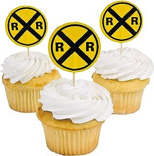 Fun Express - Railroad Sign Paper Picks (25pc) for Birthday - Party Supplies - Serveware & Barware - Picks & Stirrers & Parasols - Birthday - 25 Pieces