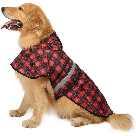resistente al agua cord/ón ajustable chaqueta para perro con tira reflectante roja-XS capucha extra/íble Ctomche Chubasquero para perro con cremallera