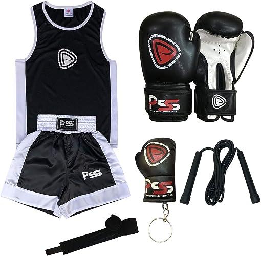 Enfants - Tenue uniforme de boxe 2 pièces (haut & courte) + gants de boxe noir-blanc 11-12 ans (1001)