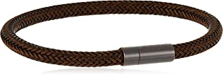 WOVEN BROWN SILICONE WRAPPED STAINLESS STEEL WIRE WITH BROWN IP PLATED MAGNETIC CLOSURE -1580099L