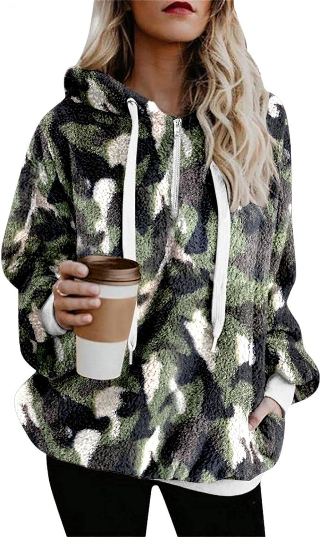 POLLYANNA KEONG Womens Hoodies Long Sleeve Zip Up Sweatshirt Fleece Leopard Pullover Outwear Lightweight Coat with Pockets