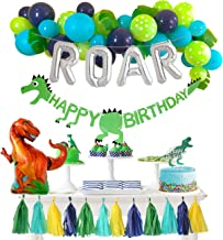 Dinosaur Party Decorations Balloons Garland Kit with Silver ROAR Foil Balloon and Cute Jungle Theme Tassels for Boys 1 2 3...