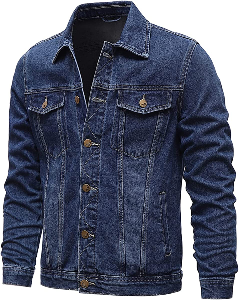 Spring And Autumn Men's Denim Jacket Casual Solid Color Lapel Single-Breasted Jeans Jacket Slim Cotton Jacket