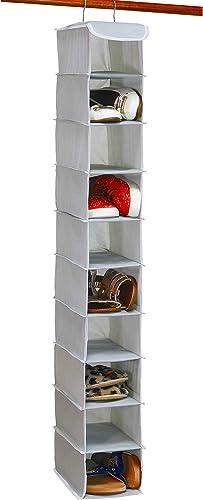 popular Simple 2021 Houseware 10 Shelves Hanging Shoes Organizer Holder for Closet, online sale Grey sale