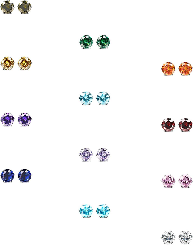 ORAZIO CZ Stud Earrings for Women Men Stainless Steel Cubic Zirconia Screwback Earrings Set