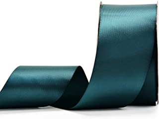 YAMA Double Face Satin Ribbon - 2 Inch 25 Yards for Gift Wrapping Ribbons Roll, Teal
