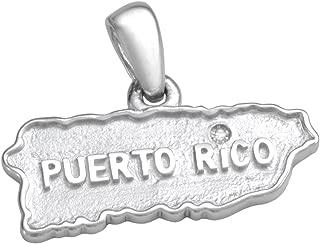 Coquí el Original Puerto Rico Map Pendant Solid Sterling Silver .925 w/Diamond Over i