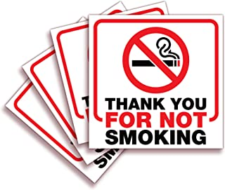 No Smoking Thank You Sticker Sign – 4 Pack 6x6 Inch – Premium Self-Adhesive Vinyl, Laminated for Ultimate UV, Weather, Scr...