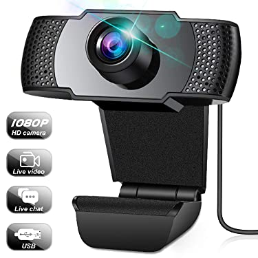 Webcam, Webcam with Microphone, Full 1080P HD Video Webcam, Streaming Computer Web Camera with Support 3D denoising and Automatic Gain, USB Computer Webcam for Video Calling, Online Classes