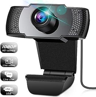 Webcam, Cámara Web con Micrófono, Webcam PC de Video Full HD 1080P, Webcam para Ordenador de Transmisión con Soporte de Eliminación de Ruido 3D y Ganancia Automática