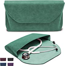 BJÖRN HALL Leather Stethoscope Case | Fits 3M Littmann Stethoscope Classic III, Lightweight II SE, Cardiology IV, MDF ADC | Designer PU Leather Carrying Case Perfect Gift for Nurses | Green Emerald
