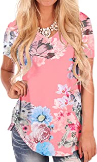 NIASHOT Women's Short Sleeve Loose Casual V-Neck Floral T-Shirt Tops