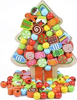 B bangcool Kids' Stringing Beads Toy Christmas Tree Stringing Beads Educational Threading Beading Kit Wood Stringing Beads for Kids
