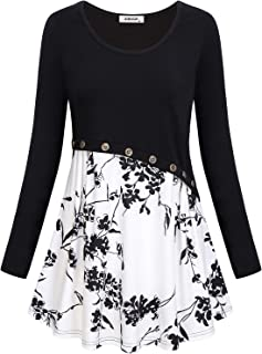 AxByCzD Women's Short/Long Sleeve Color Block Flare Floral Printed Tunic Dress
