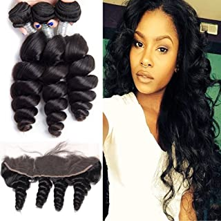 Maxine Hair Brazilian Virgin Hair with Frontal 3 Bundles Brazilian Loose Wave Human Hair with 13x4 Ear to Ear Pre Plucked ...