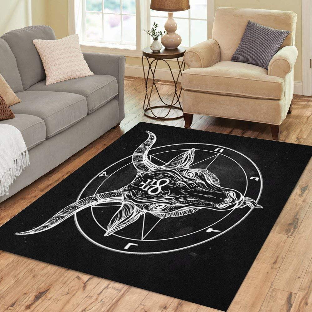 Pinbeam Area Rug Pentagram El Paso Mall Demon Head Bina Award-winning store Satanic Goat Baphomet