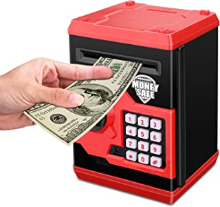 Zonkin Cartoon Electronic ATM Password Piggy Bank Cash Coin Can Auto Scroll Paper Money Saving Box Gift for Kids (Black red)
