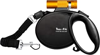 Happy & Polly Dog Leash Retractable with Flashlight Bungee Leash 16.4ft Tangle Free Heavy Duty Dog Walking Leash Dog Leash Retractable Tape with Poop Bag Dispenser Poop Bags for Medium Large Dog