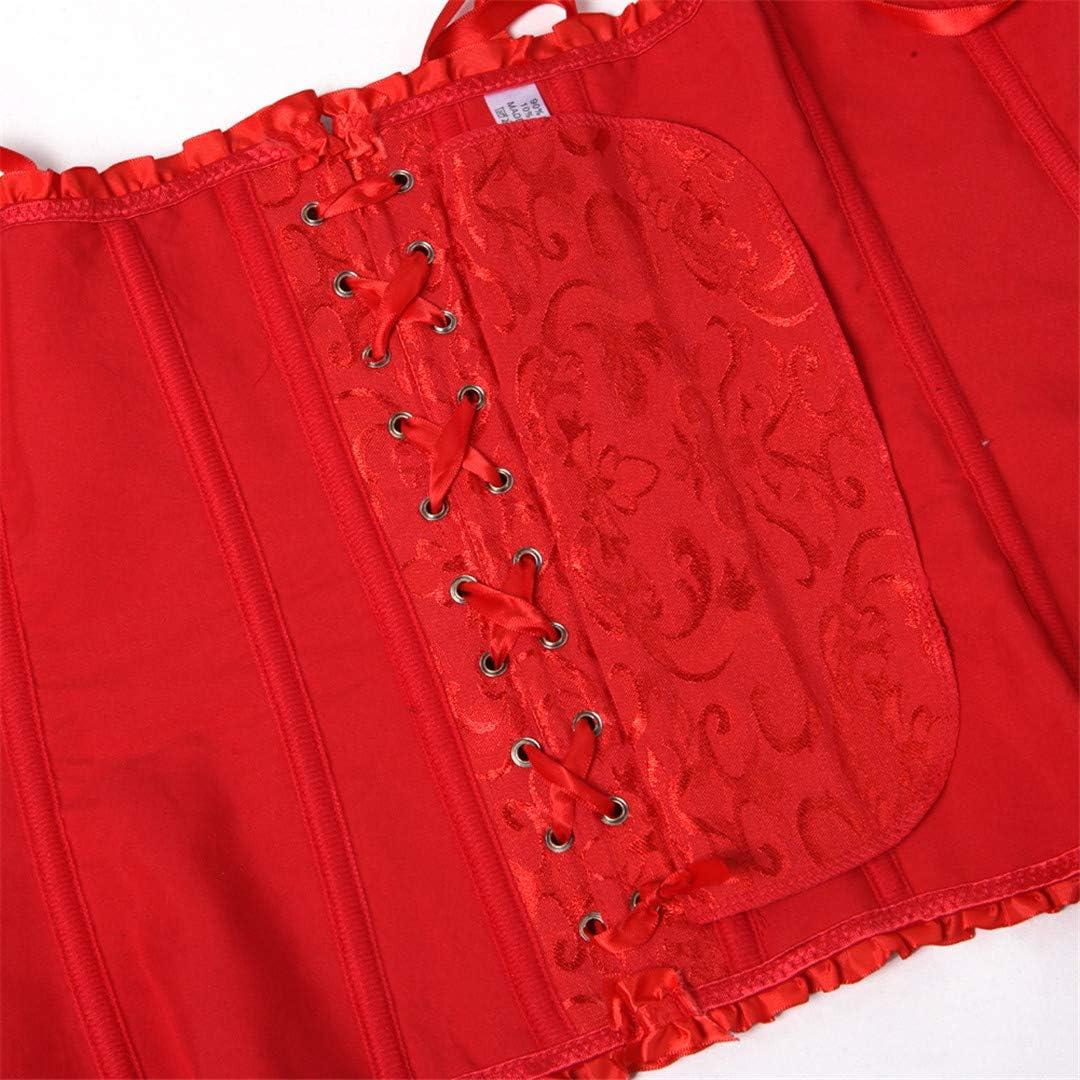 Plus Size Corset Womens Floral Pleated Trim Overbust Corsets Waist Cincher Bustier Top