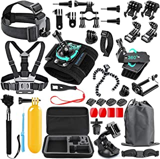 SmilePowo 48-in-1 Accessories Kit for GoPro Hero 9 8 Max 7 6 5 4 3 3+ 2 1 Black GoPro 2018 Session Fusion Silver White Ins...