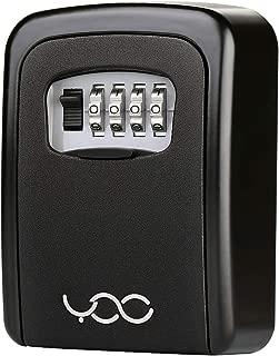 YDO Key Storage Lock Box, Hide a Key Secure 4-Digit Combination Lockbox Wall Mounted Organizer, Resettable Code, Black