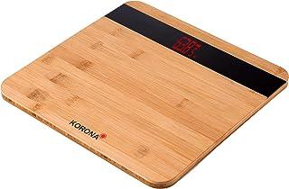 Korona 74560 - Báscula electrónica (madera de bambú, 180 kg de carga, 100 gramos de división), diseño de madera