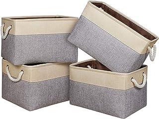 Univivi paniers de Rangement en Tissu 4 pcs, Boîte de Rangement pour vêtements Non tissée Organisateur de poubelles à Joue...