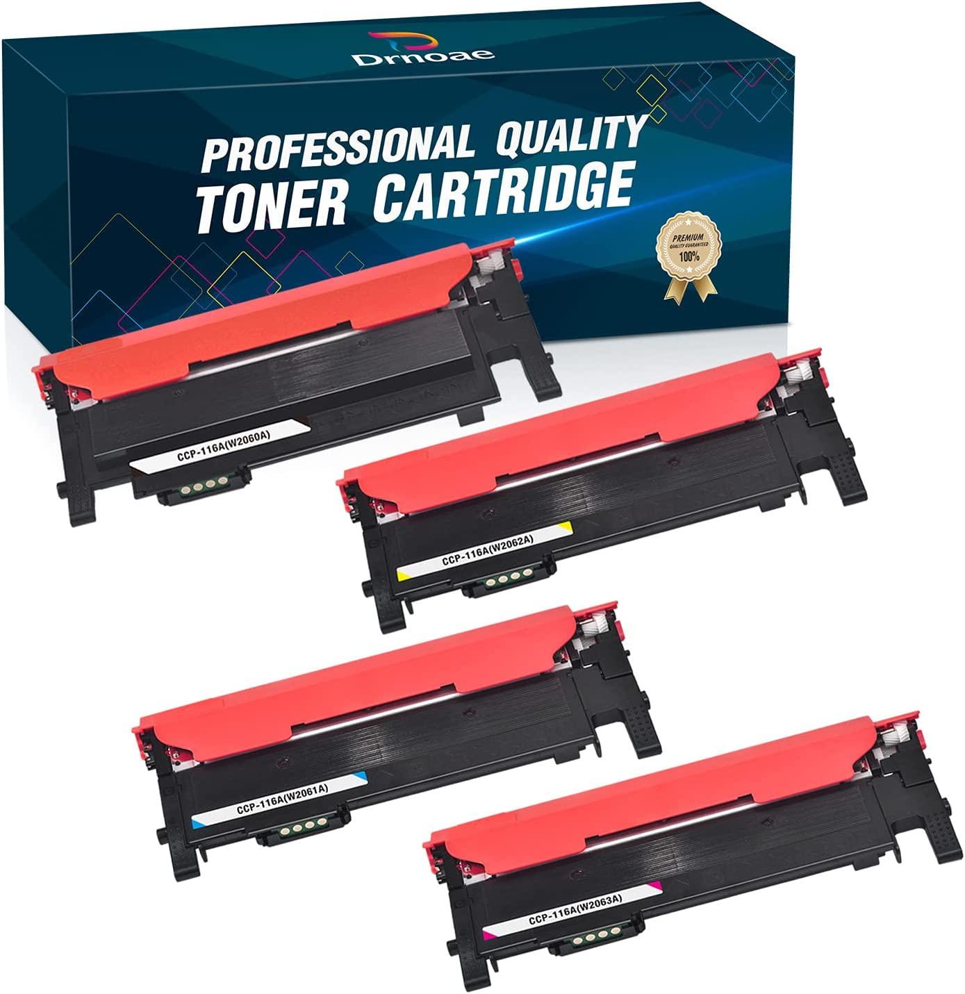 Drnoae Compatible Toner Cartridge Replacement for HP 116A W2060A W2061A W2062A W2063A Work with HP Color Laser 150A MFP178nw 179fnw Printers, 4 Pack (1 Black, 1 Cyan, 1 Yellow, 1 Magenta)
