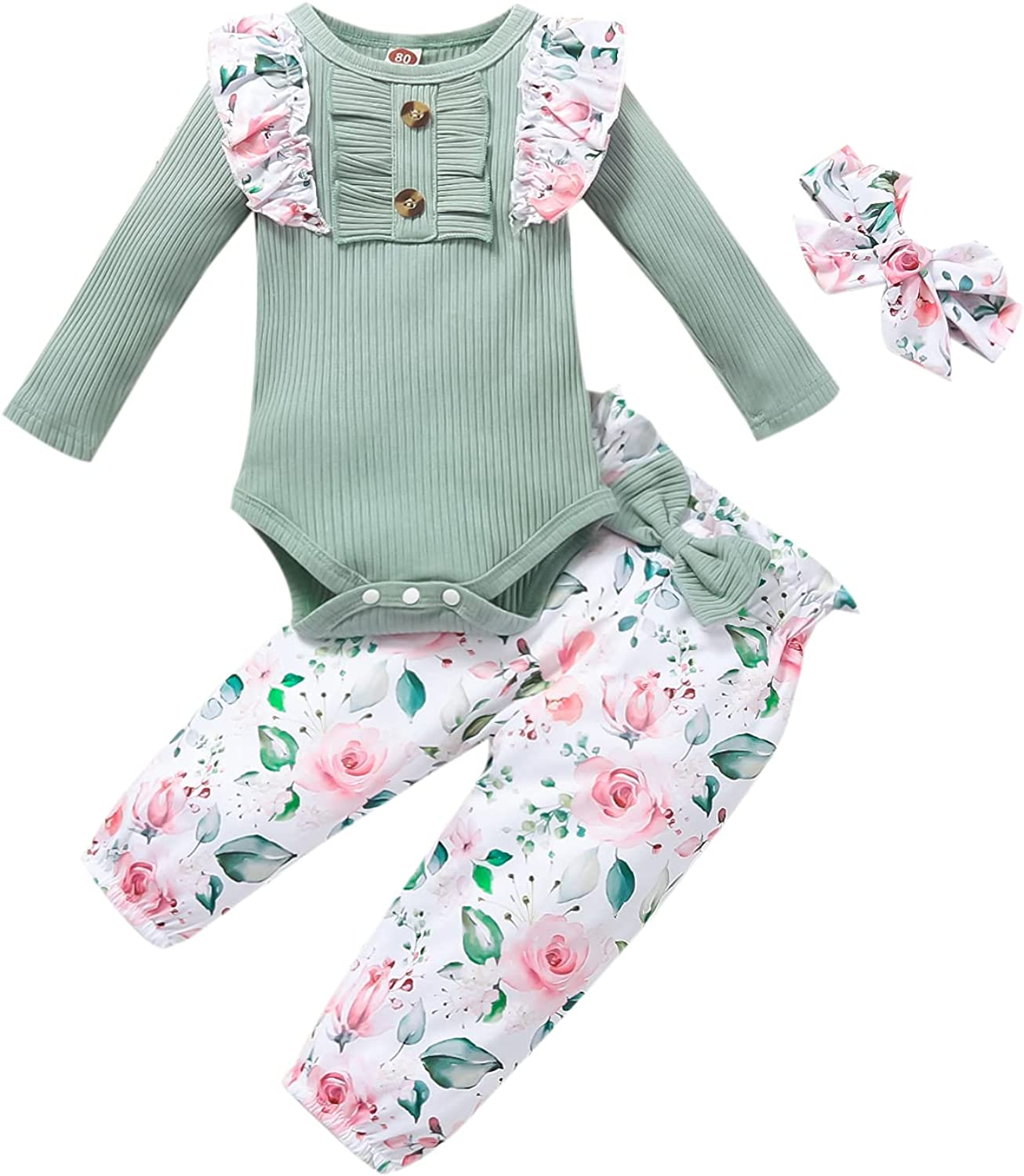 Fall Newborn Infant Baby Girl Clothes Set Long Sleeve Ruffle Bodysuit Romper Floral Pant Outfit Set 3Pcs