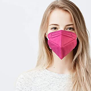 5 Layer Protection Breathable Face Mask (Hot Pink) - Made in USA - Filtration>95% with Comfortable Elastic Ear Loop | Band...