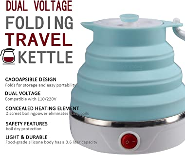 Travel Foldable Electric Kettle, Collapsible Electric Kettle Food Grade Silicone Small Electric Kettle Boiling water,Dual Vol