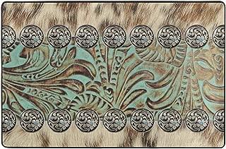 "Western cowboy bar wooden door Plush Bath Decor Mat with Non Slip Backing 16x24/"""