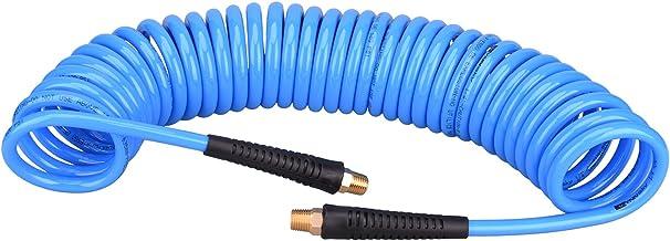 WYNNsky 25 Feet Polyurethane Coiled Air Compressor Hose, 1/4 Inch MNPT Brass Swivel Air..